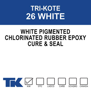 tri-kote-26-white A special formula of chlorinated rubber and epoxy that cures, seals and hardens new or existing concrete in one easy application. TK-26 UV eliminates the need for further curing processes by retaining 95-98% of the moisture content of concrete over its critical 7-day curing period - ensuring stronger, fully cured concrete. Contains a white pigment for reluctance (day or night).