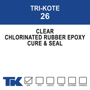 tri-kote-26 A special formula of chlorinated rubber and epoxy that cures, seals and hardens new or existing concrete in one easy application. TK-26 eliminates the need for further curing processes by retaining 95-98% of the moisture content of concrete over its critical 7-day curing period