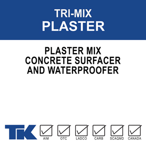 tri-mix-plaster A dry cementitious concrete surfacer designed to seal, waterproof and color/texturize concrete and masonry substrates. TK-TRI-MIX PLASTER MIX concrete surfacer is to be used with a liquid bonding agent for improved bonding, adhesion and cohesion between coats, and for added durability against chemical attack.