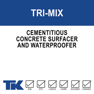 tri-mix A dry cementitious concrete surfacer designed to seal, waterproof and color/texturize concrete and masonry substrates. TK-TRI-MIX concrete surfacer is to be used with a liquid bonding agent for improved bonding, adhesion and cohesion between coats, and for added durability against chemical attack