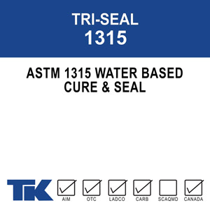 tri-seal-1315 A 100% water-based, high solids acrylic resin compound for curing, sealing, protecting and dust proofing new or existing concrete and masonry surfaces. TK-TRI-SEAL 1315 is also formulated to seal many types of porous tile and resilient floors.