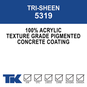 tri-sheen-5319 A 100% acrylic, a non-cementitious protective coating that provides a durable and attractive textured finish for a variety of decorative surfaces