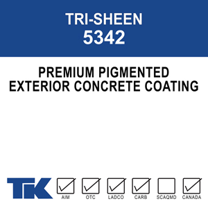 tri-sheen-5342 A 100% acrylic, breathable masonry coating that promotes surface adhesion and color retention for a long-lasting decorative finish. TK-TRI-SHEEN ACRYLIC may be used alone or combined with surfacing/texturing products for increased color uniformity and stability.