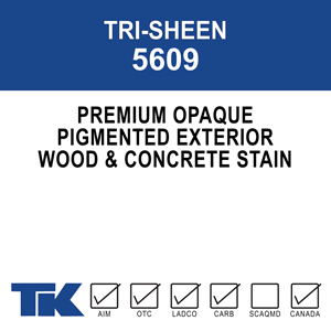 tri-sheen-5609 A medium viscosity, opaque, acrylic emulsion designed for wood, wood-like or concrete surfaces. Its acrylic resins and unique formulation create a uniformly colored finish that lasts.