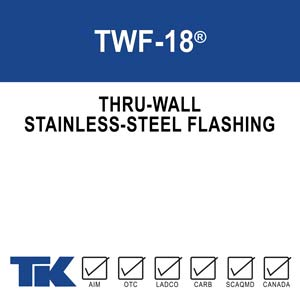 TWF-18 is a stainless-steel flashing designed to collect water in wall cavities and redirect it to the exterior of the building. TWF-18 is tough, durable, resists corrosion, mold, and fire and will help prevent costly water damage and deterioration of the building envelope.