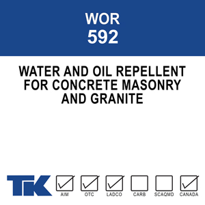 wor-592 A single component, ultra low viscosity, deep penetrating water and oil repellent for concrete. It offers invisible protection against staining and structural damage caused by contact with water, waterborne salts, deicing chemicals and oil.