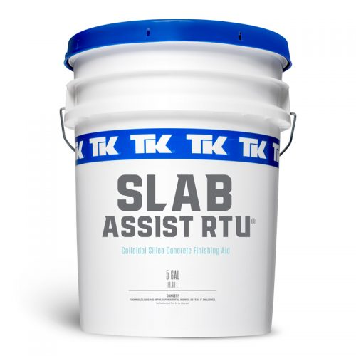 1 and 5 Gallons TK Slab Assist Concrete Finishing Aid available in Ready to Use and Concentrate Formulas