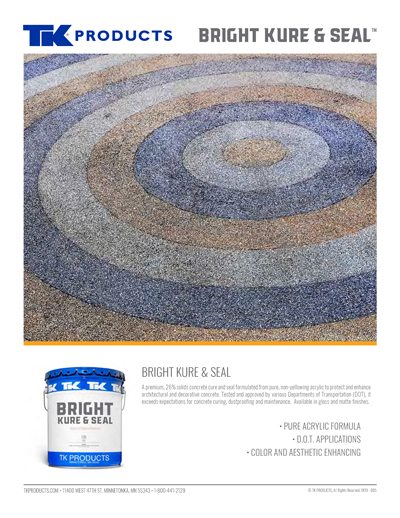 TK Products Bright Kure and Seal Sales Sheet